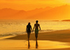 romantic walk on the beach